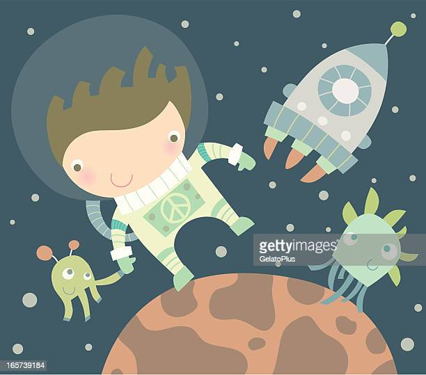 Vector cartoon of a man in space with a spaceship and aliens