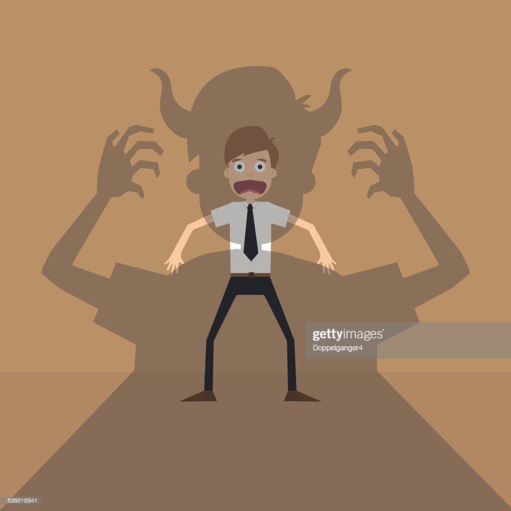 Vector cartoon of Businessman terror devil shadow