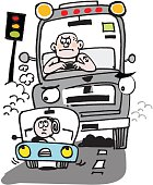 Vector cartoon of driver being tailgated by large truck.
