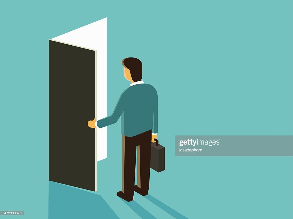 Vector cartoon of man with briefcase opening a door