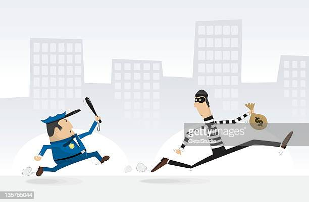 Vector cartoon of policeman chasing a burglar