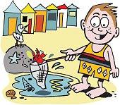 Vector cartoon of small boy fishing at beach.