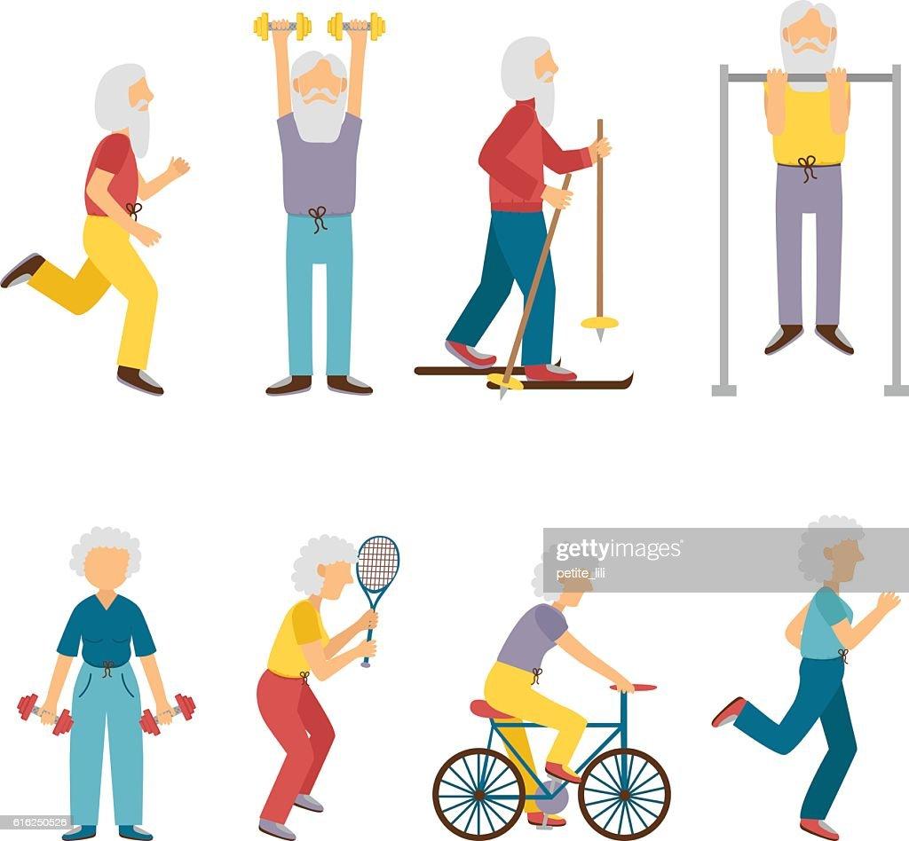 Vector cartoon old people activity characters : Arte vectorial