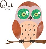 Vector cartoon owl with watercolor elements and handwritten letters
