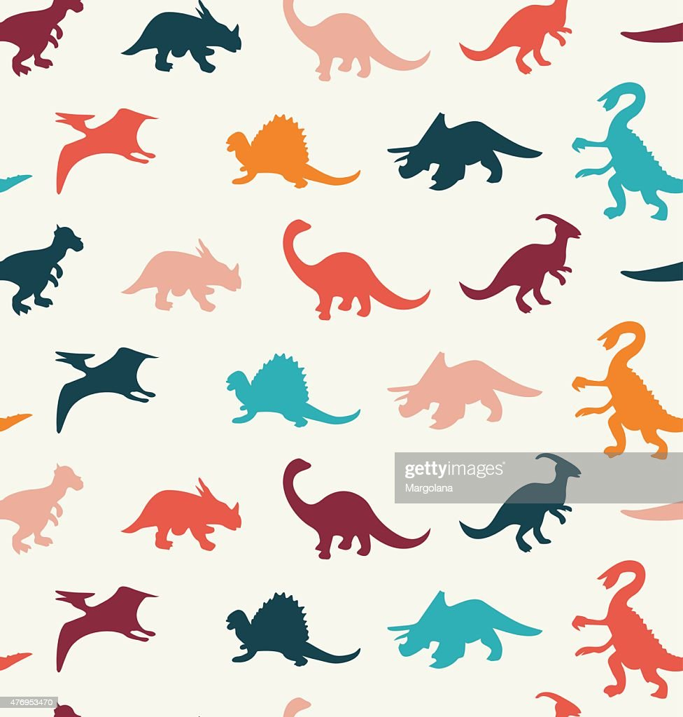 Vector Cartoon Pattern of colorful different dinosaur