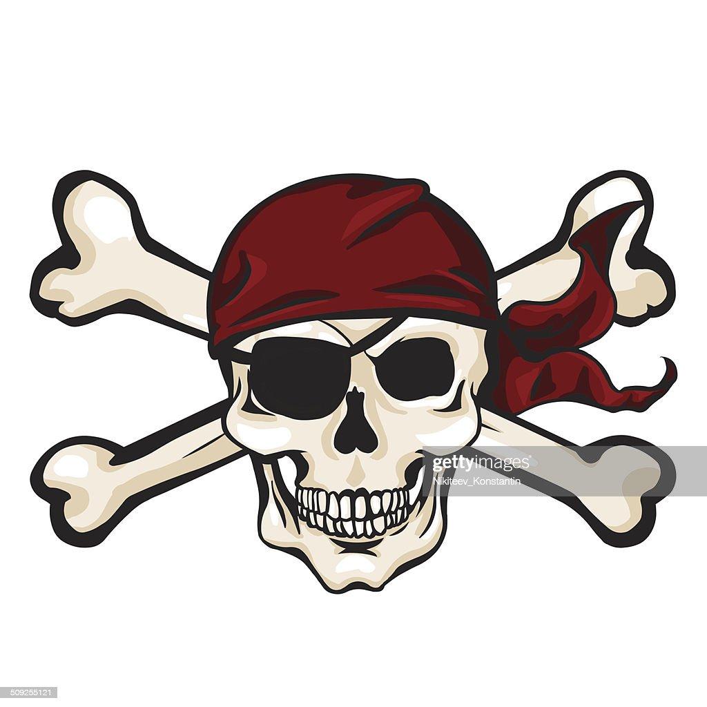 Vector Cartoon Pirate Skull in Red Bandana with Cross Bones