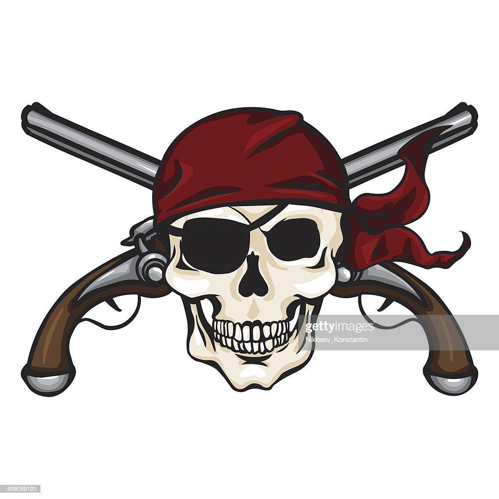 Vector Cartoon Pirate Skull in Red Bandana with Cross Pistols
