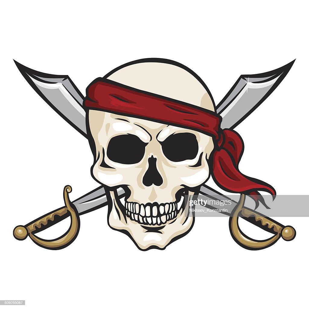 Vector Cartoon Pirate Skull in Red Headband with Cross Swords