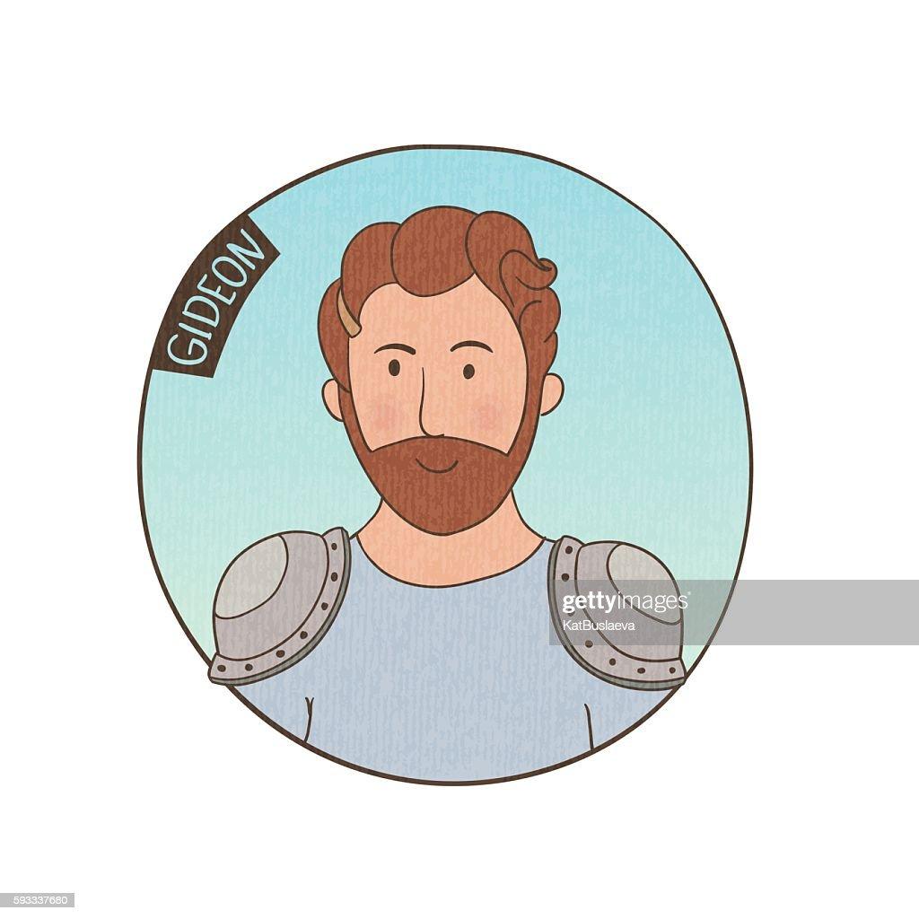 Vector cartoon portrait of Gideon.