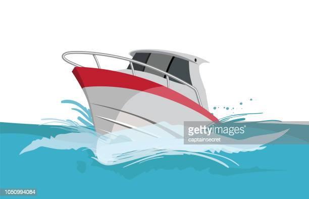 vector cartoon power yacht - nautical vessel stock illustrations