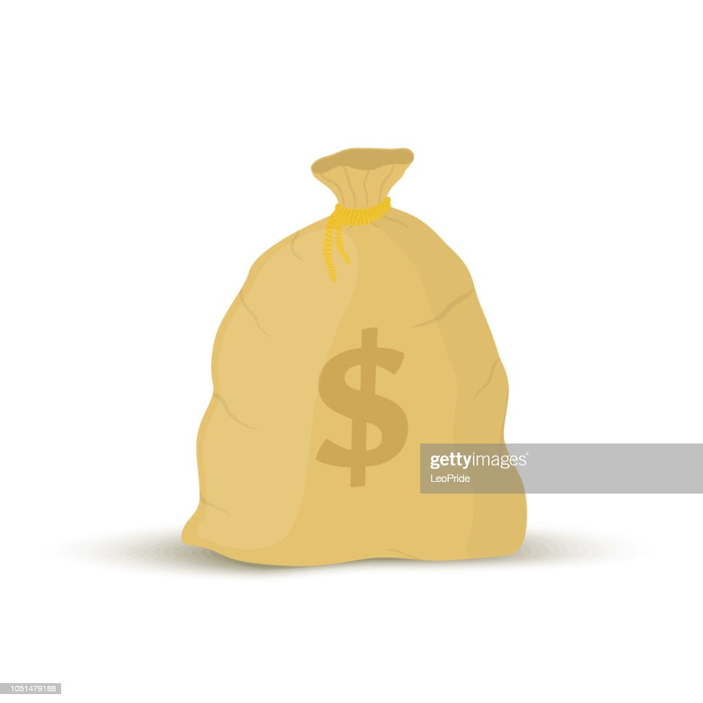 Vector cartoon sack with dollar sign. Business element