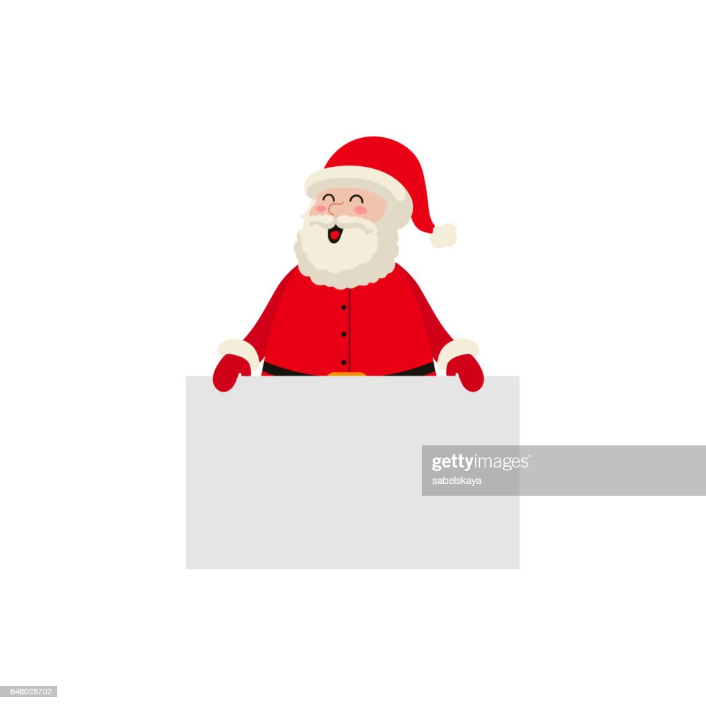 vector cartoon Santa keeping blank paper in hands