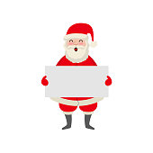 vector cartoon Santa keeping blank paper in hands