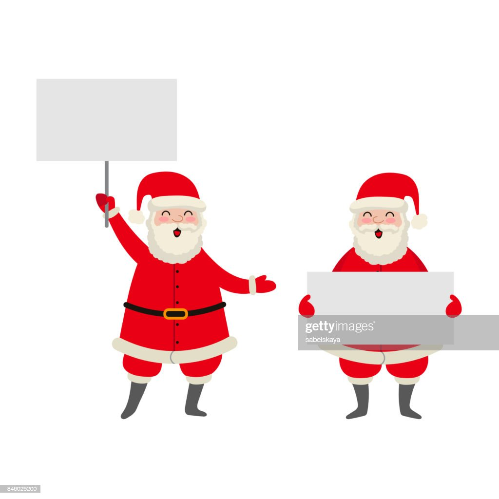 vector cartoon Santa keeping paper in hands set