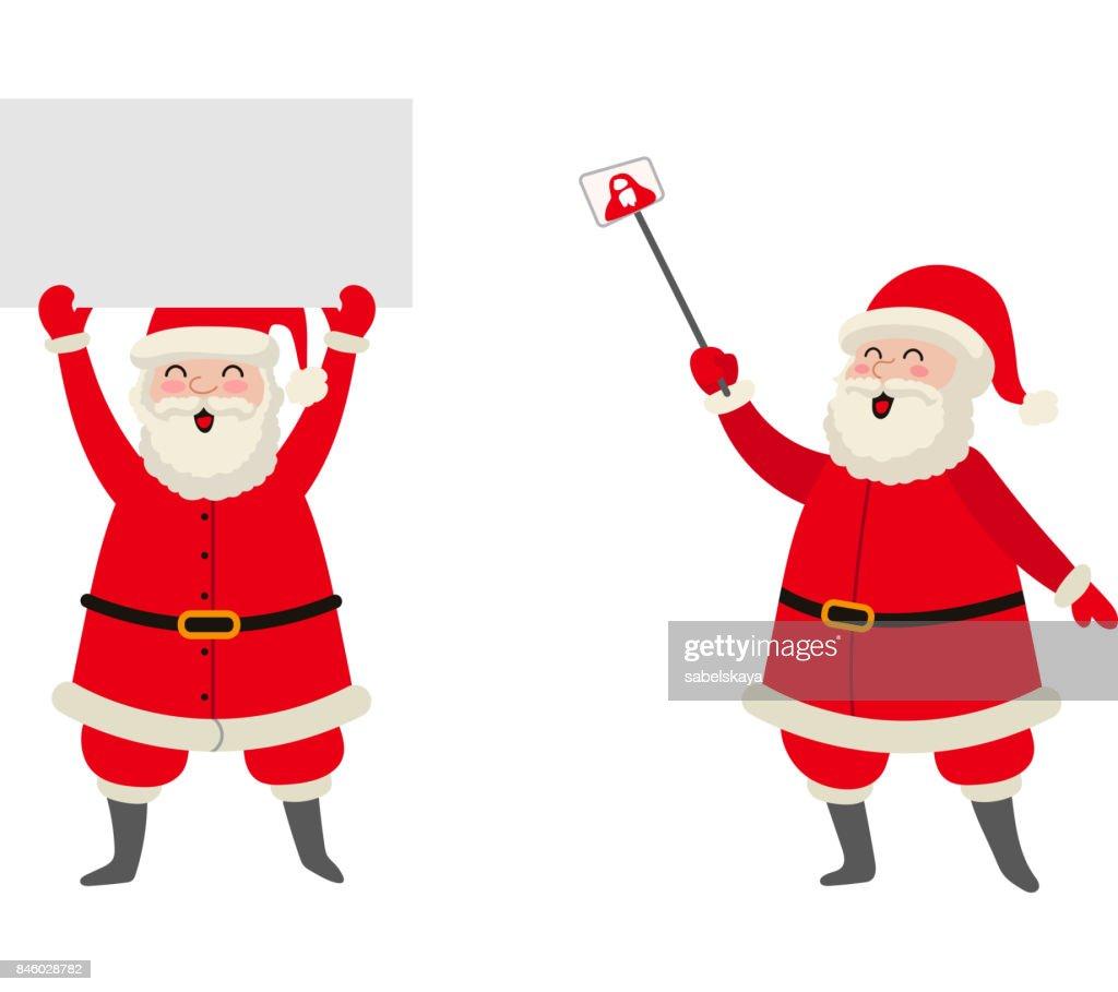 vector cartoon Santa keeping paper, making selfie
