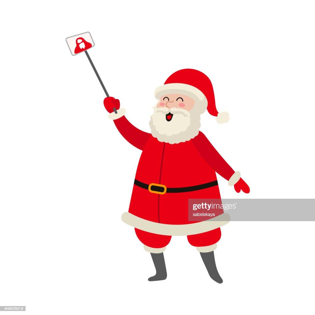 vector cartoon Santa making selfie by stick
