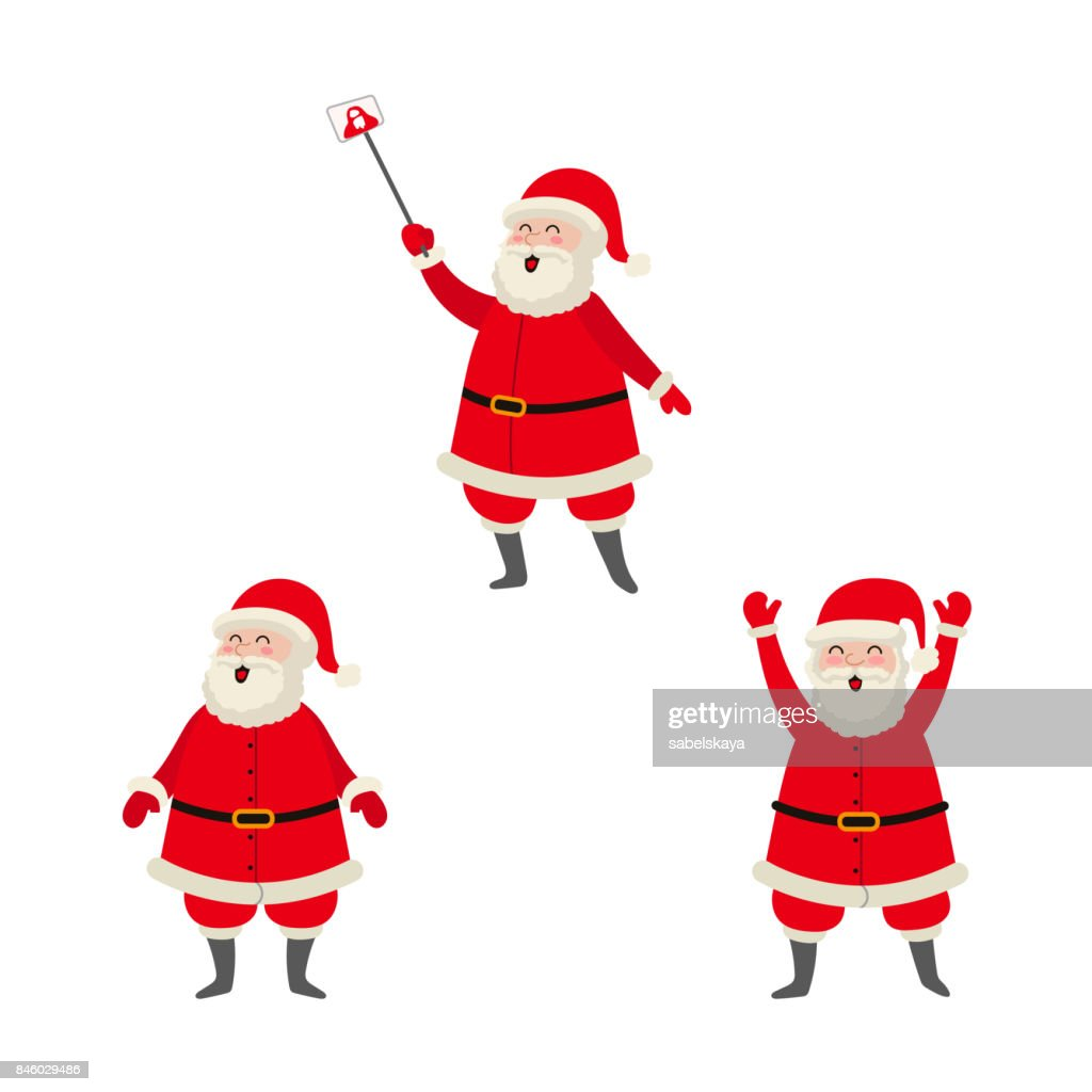 vector cartoon Santa making selfie, standing set