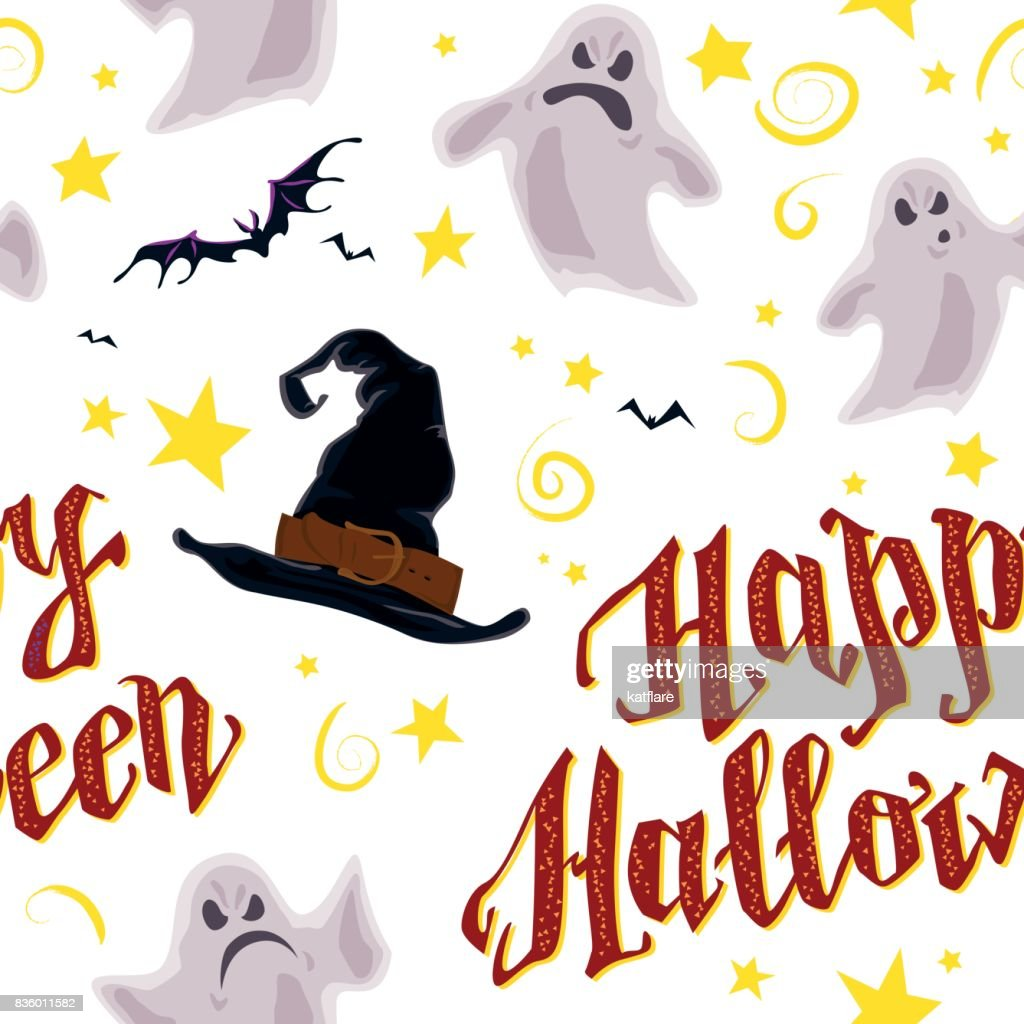 Vector cartoon seamless Halloween pattern design with magic elements isolated