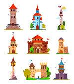 Vector cartoon set of fairytale castle, medieval towers.