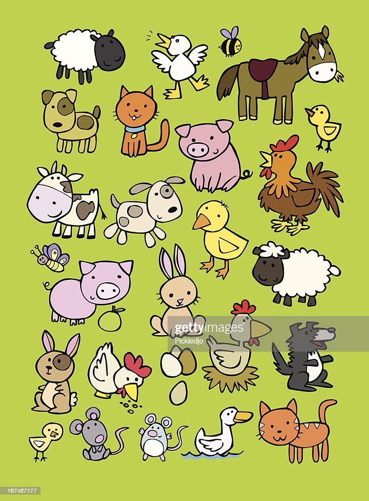 Vector cartoon set of farm animals