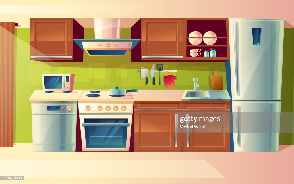 Vector cartoon set of kitchen counter with appliances. Cupboard, furniture. Household objects, cooking room interior.