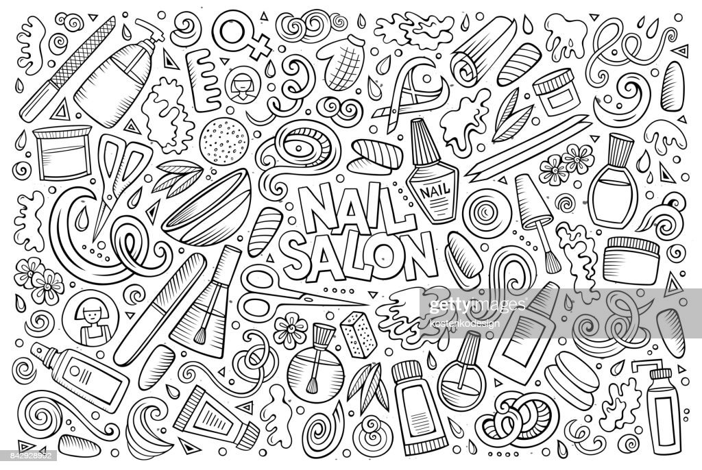 Vector Cartoon Set Of Nail Salon Theme Objects Vector Art | Getty Images