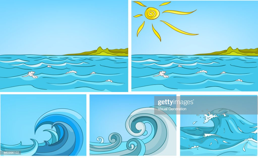 Vector cartoon set of sea backgrounds