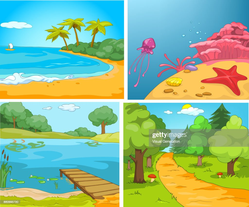 Vector cartoon set of summer backgrounds
