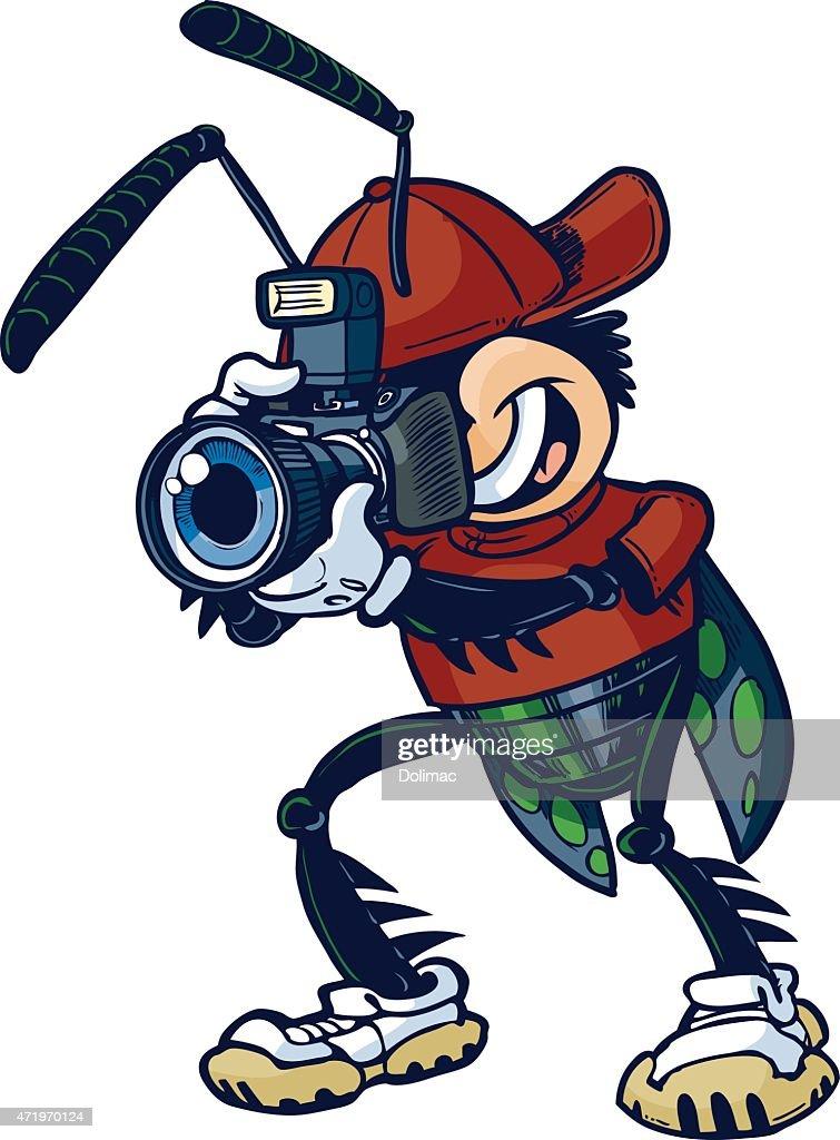 Vector Cartoon Shutter Bug with Camera