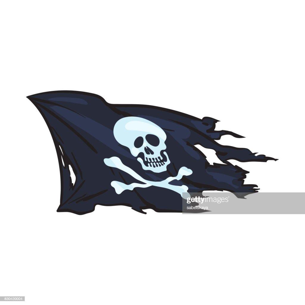 vector cartoon skull and cross bones flag isolated