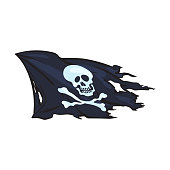 vector cartoon skull and cross bones flag isolated