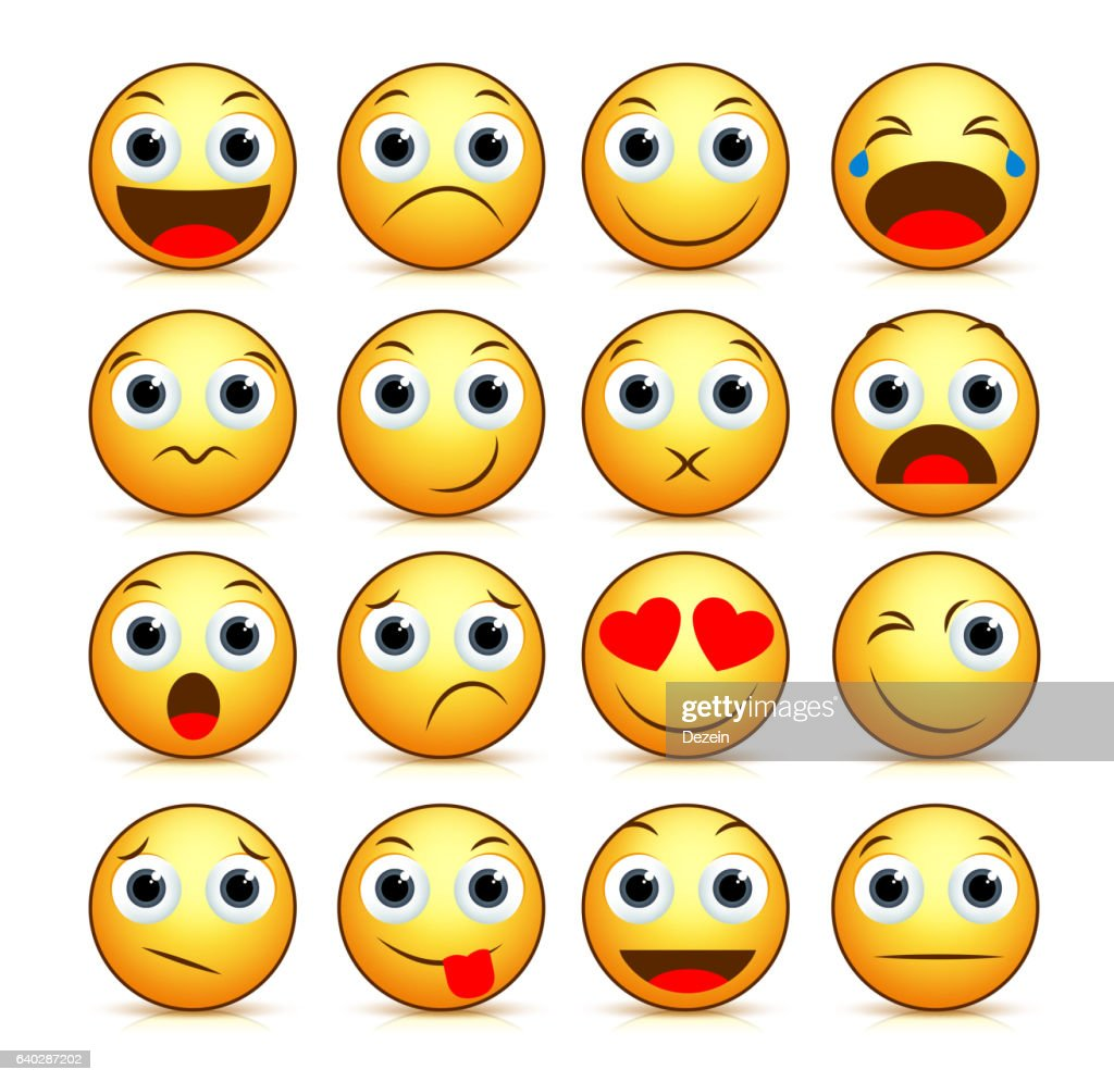 Vector cartoon smiley face set of yellow emoticons and icons