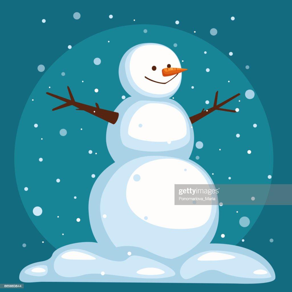 Vector Cartoon Snowman on snow sky background