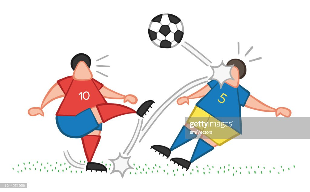 Vector cartoon soccer player man kicking ball and hitting other player's face