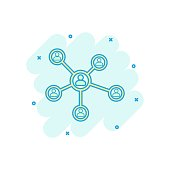 Vector cartoon social network icon in comic style. People connection sign illustration pictogram. Network business splash effect concept.