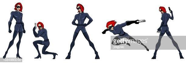 vector cartoon spy girl set - heroines stock illustrations