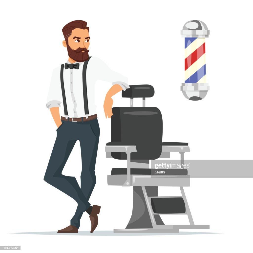 Vector cartoon style illustration of barber.