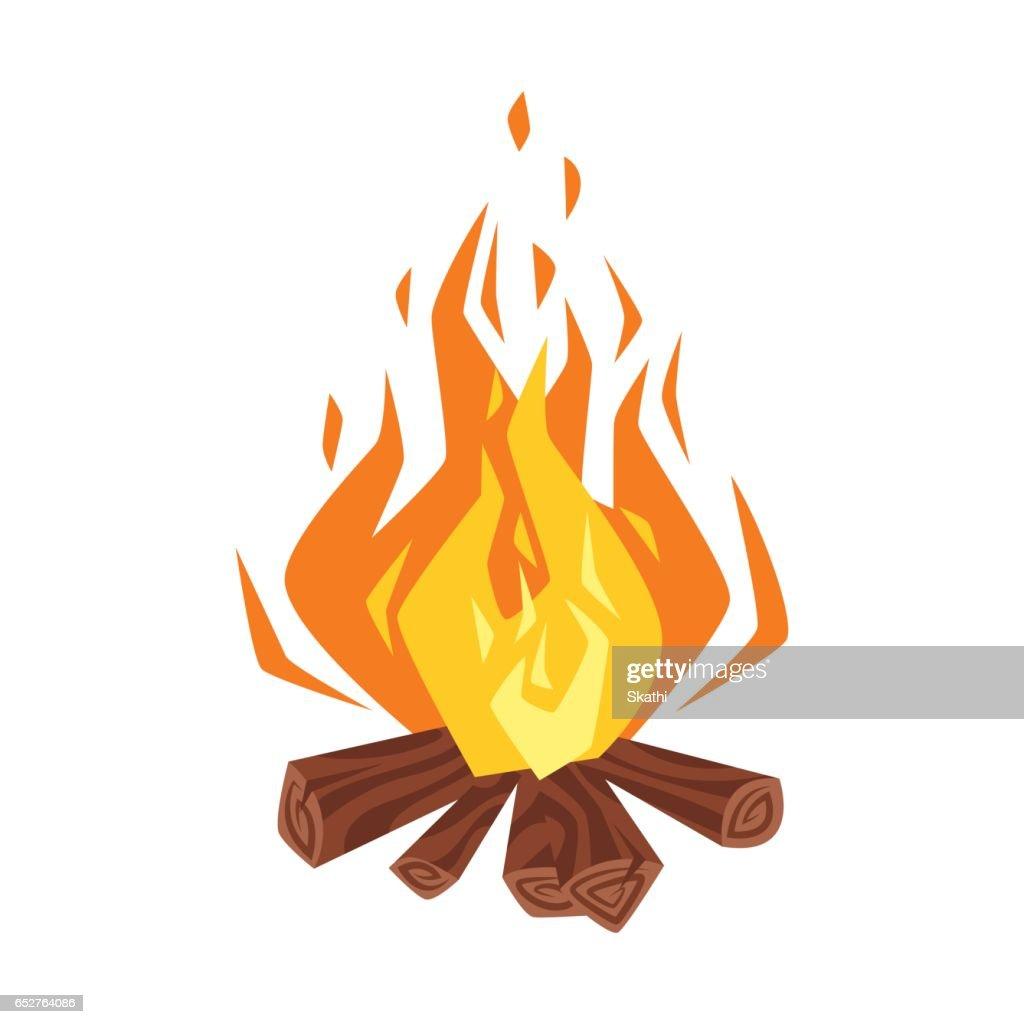 Vector cartoon style illustration of bonfire.