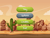 Vector cartoon style wavy enabled and disabled buttons with text for game design on orange rocks, sky and cactus desert landscape background