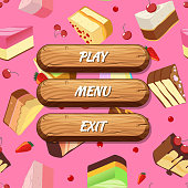 Vector cartoon style wooden buttons with text for game design on cake pieces background