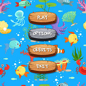 Vector cartoon style wooden enabled and disabled buttons with text for game design on sealife texture background