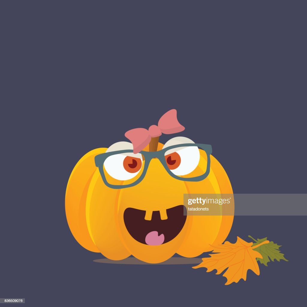 Vector cartoon styled illustration: Halloween pumpkin character or mascot with happy girl face. Cute girlie halloween pumpkin smiling head isolated.