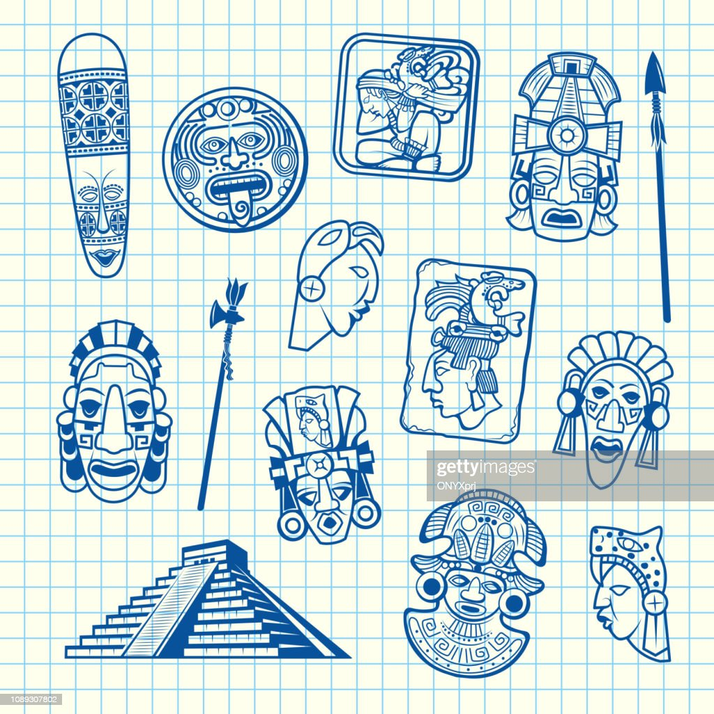 Vector cartoon summer travel elements tiki mask of set