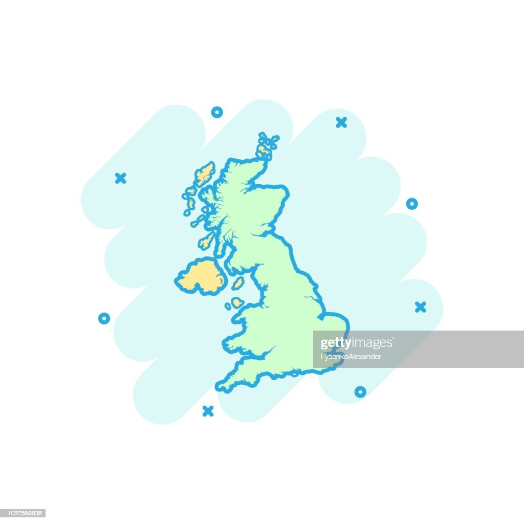 Vector cartoon United Kingdom map icon in comic style. United Kingdom sign illustration pictogram. Cartography map business splash effect concept.