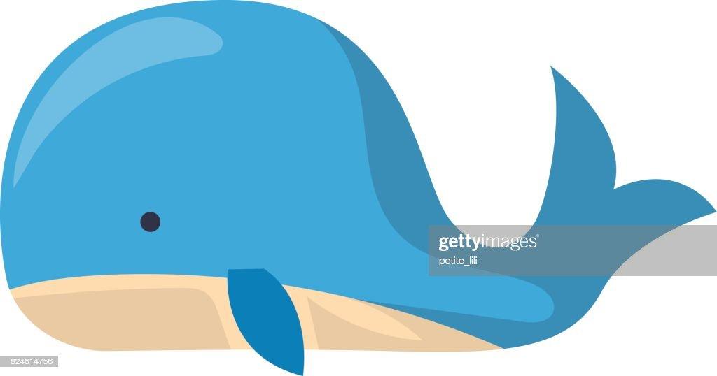 Vector cartoon whale