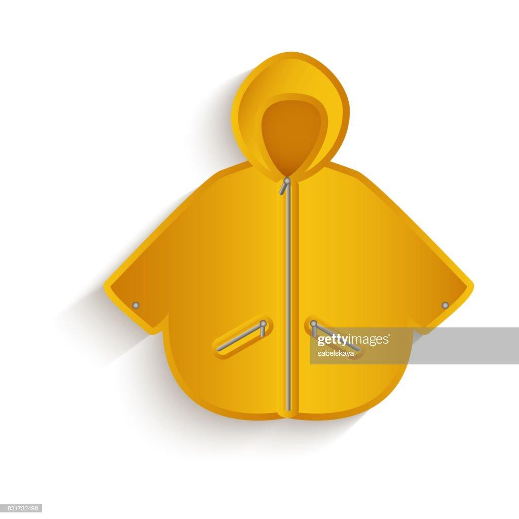 vector cartoon yellow raincoat isolated