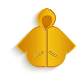 vector cartoon yellow raincoat isolated
