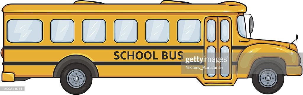 Vector Cartoon Yellow School Bus. Side View.