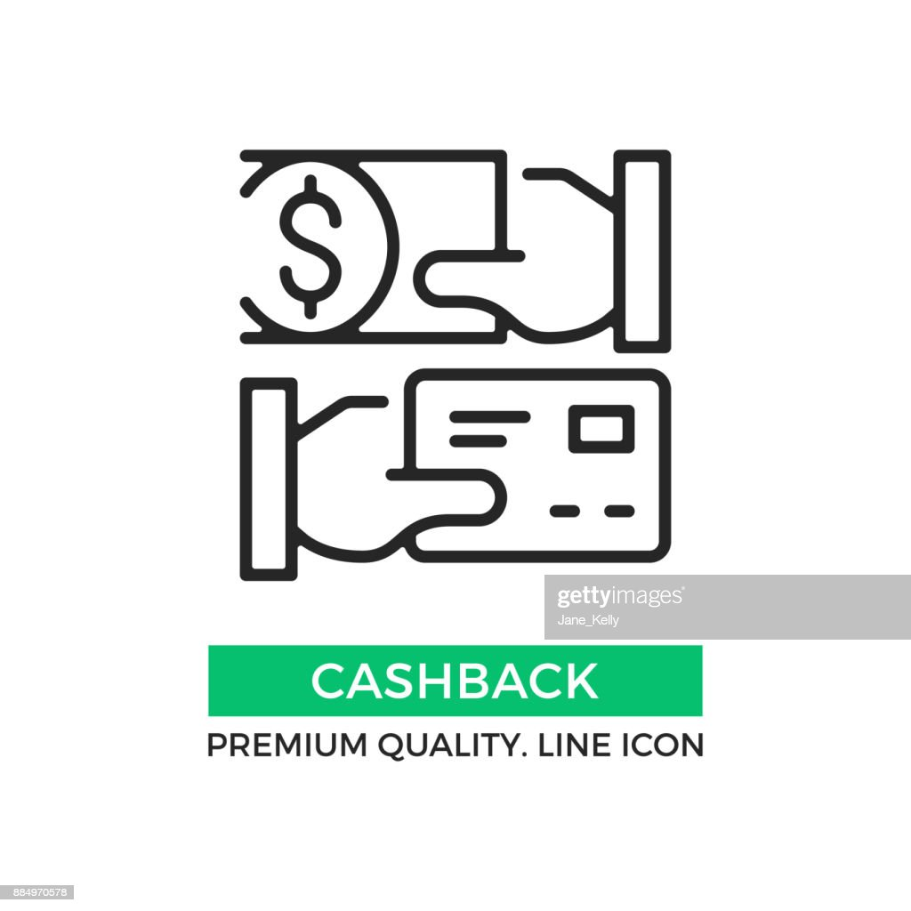 Vector cashback icon. Cash back. Hand holding credit card and hand holding dollar bill. Premium quality graphic design element. Modern stroke sign, linear pictogram, outline symbol, simple thin line icon