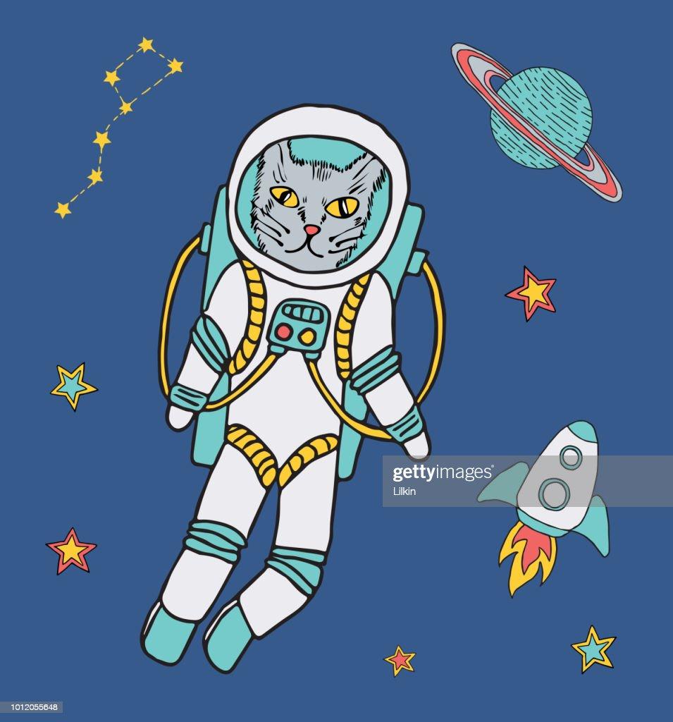 Vector kat astronaut in de ruimte : Stockillustraties